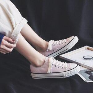 Image 4 - Femme chaussures baskets nouvelle mode femmes chaussures chaussures plates décontracté solide toile classique solide couleur bonbon femmes décontracté baskets