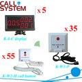Клиника беспроводной систему вызова медсестры тревожной кнопки ( 5 шт. K-4-C дисплея 35 шт. K-W1-P + 55 шт. K-W2-H )