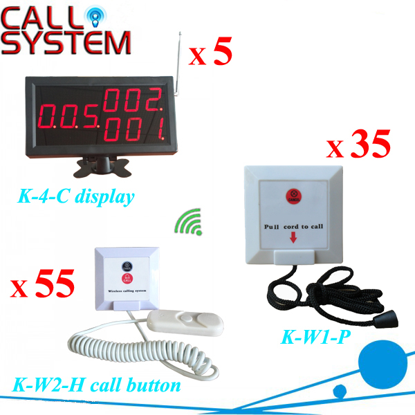Clinic Wireless Nurse Calling System Panic Button (5pcs K-4-C display+35pcs K-W1-P+55pcs K-W2-H)