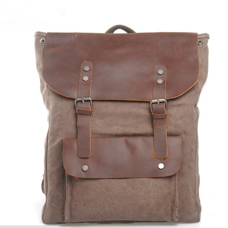 ФОТО Vintage Leather military Canvas Backpack Men's Backpack Women School Backpack 2017 College  Bagpack mochila Travel Casual Bag