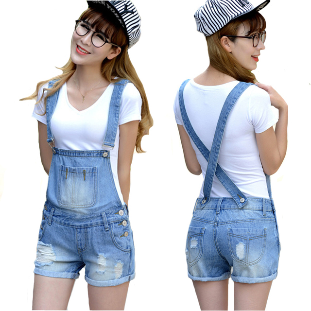 dd71309e27b7 Women Overalls Blue Jeans Lady Distressed Washed Hole Denim Jumpsuit Romper  Playsuit Short Jeans Female Overalls