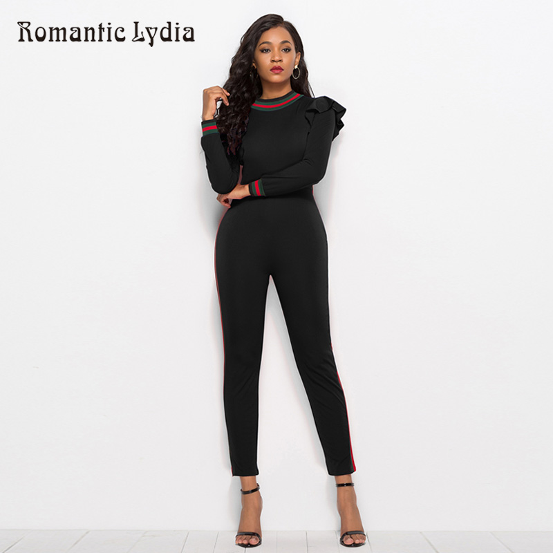 Women Sexy Summer Jumpsuits Solid Color Ruffles Elegant Black Jumpsuit Plus Size New Arrival 2018 ...