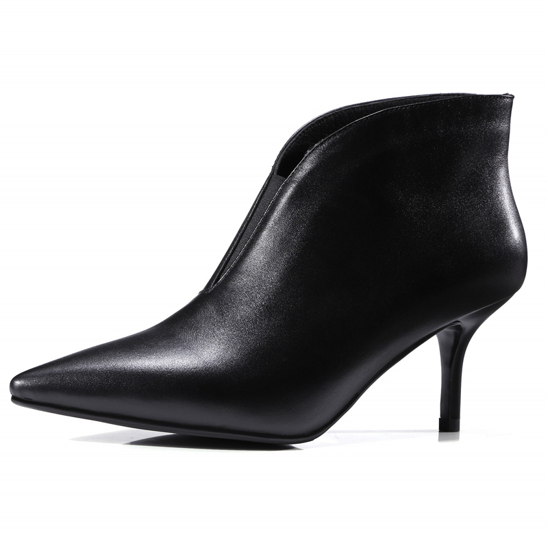 Brand High Quality Genuine Leather Ankle Boots Pointed Toe Nightclub Shoes Woman High Heels Pumps Female Basic Boots DR-A0034 runben a0034 1 a0034 1 rb01