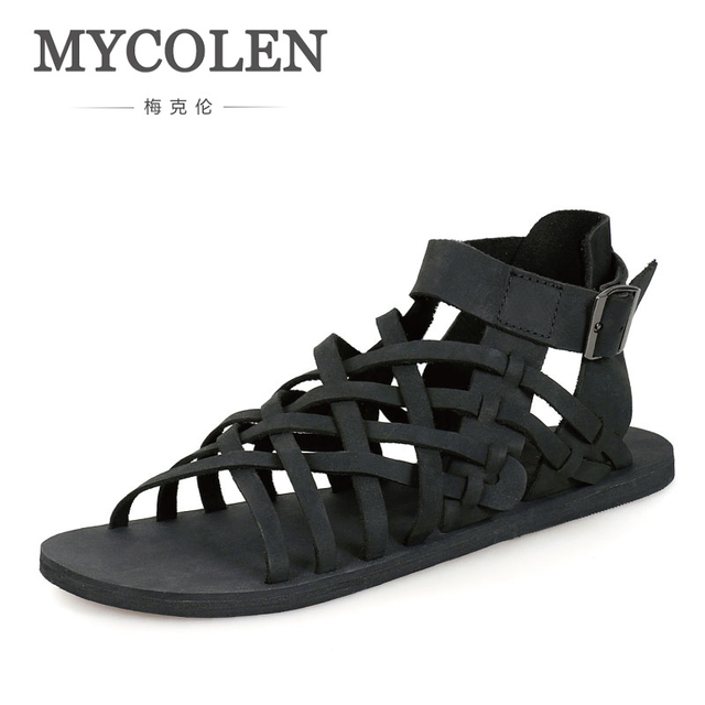 86880bd9e327 MYCOLEN 2018 New Handsome Luxury Product Man Shoes Cool Summer Leather Sandals  Fashion Man Sandals Black Brown Male Sandals