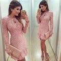2017 новых Женщин Дамы Повязки Bodycon С Длинным Рукавом розовый симпатичные Mini Dress