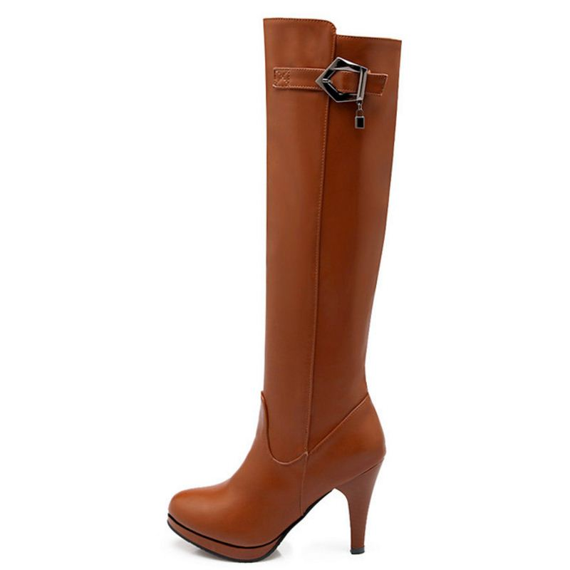 TAOFFEN Women Over Knee Thigh High Boot Women Pointed Toe Platform Shoes Women Thin High Heels Shoes Sexy Woman Boots Size 32-48
