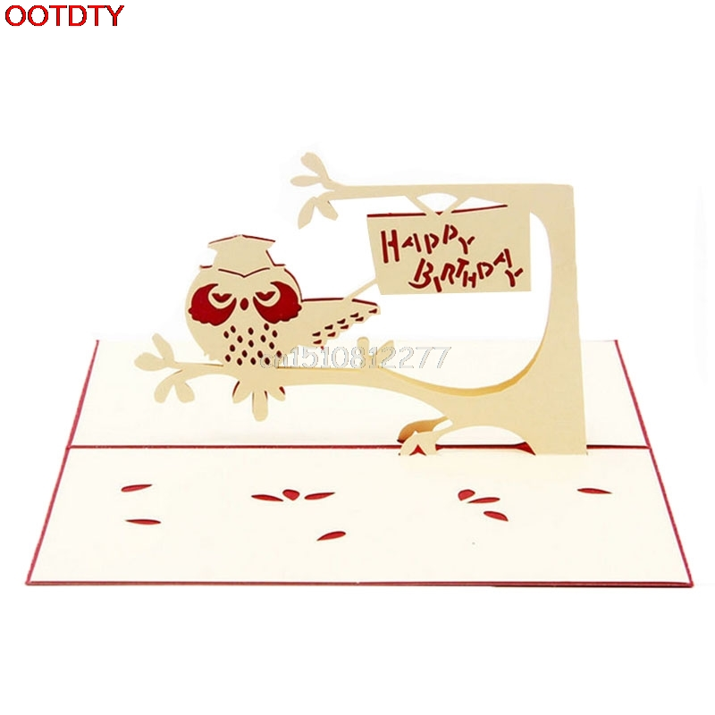 3d Pop Up Greeting Cards Handmade Owl Happy Birthday Easter