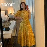 RUGOD Women long dress floral print pleated ruffles lantern sleeve elegant maxi dress vintage 2019 summer fashion vestidos mujer
