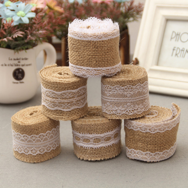 2m vintage wedding decoration rustic natural jute burlap hessian 2m vintage wedding decoration rustic natural jute burlap hessian ribbon lace trims tape wedding cake topper junglespirit Choice Image