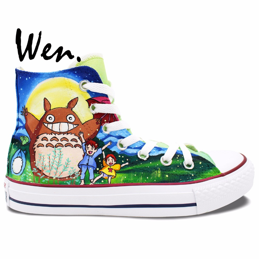 Prix pour Wen Chaussures Peintes à la main Design Personnalisé Anime Mon Voisin Totoro High Top Toile Sneakers pour Hommes de Femmes De Noël Cadeaux