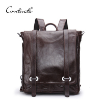 2016 New Genuine Leather Backpack Men Multifunctional Backpack Korean Fashion Male School Backpack Large Travel Bag