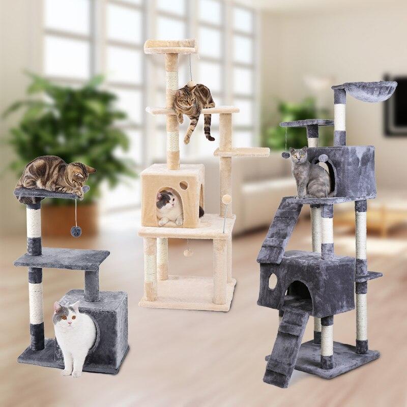 Livraison domestique chat meubles jouant pour l'amusement chat maison dormir animal grattage Post cadre trous pour chat jouant formation