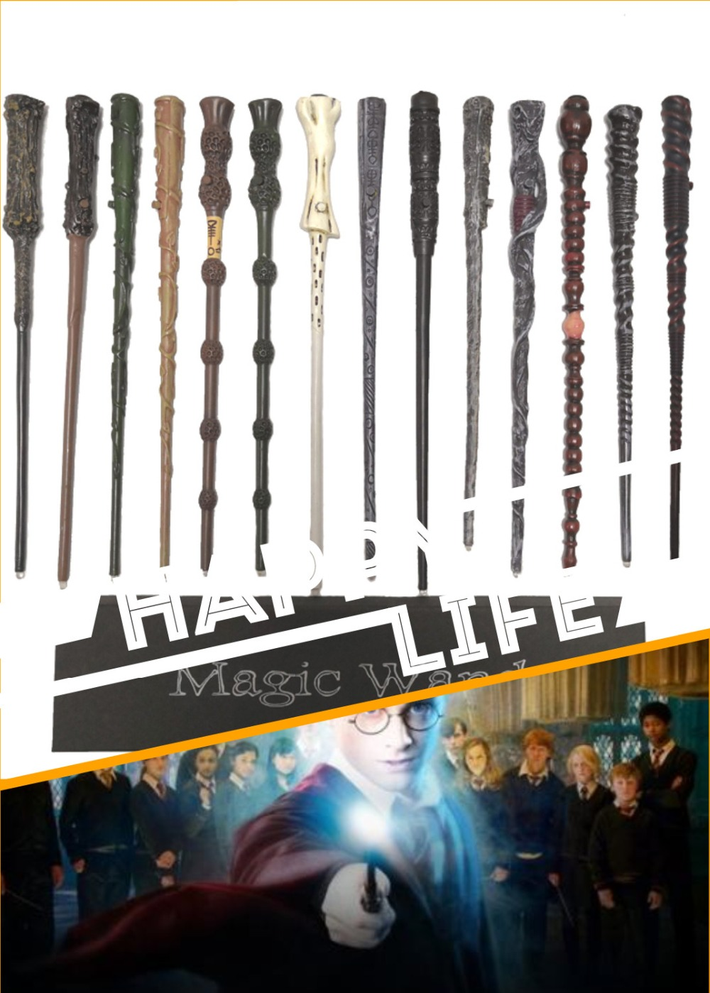 Quality Led light Snape Dumbledore Magic Wand Gift Box Cosplay Game Prop Collection Harry Toy Stick Free Train Ticket