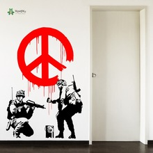 YOYOYU Wall Decal Art Vinyl Bedroom Gaming Poster Banksy Propaganda Peace Symbol  Hallway Sticker Decor YO139