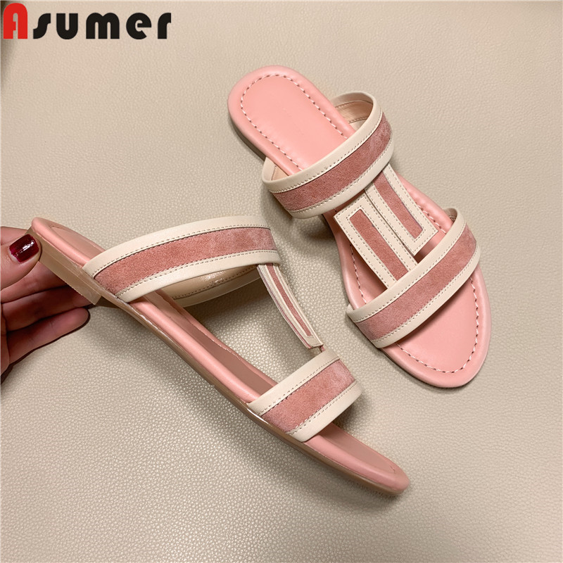 ASUMER Sandals Shoes Flat Genuine-Leather Casual Slingback New with Ladies Women Mixed-Colors