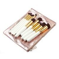 Professional 10pcs Makeup Brushes Sets Cosmetic Grade Rose Gold PU Tubular Bag Foundation Blending Blush Beauty