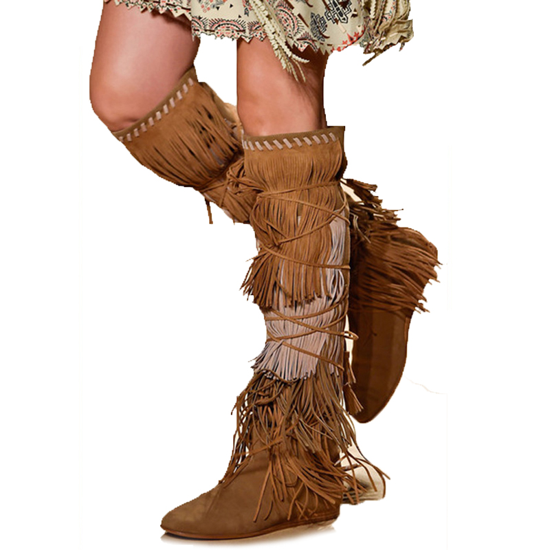 Lace Up Knee High Fringed Boots Women Platform Leather Boot Height Increasing Warm Cotton Botas Mujer Winer Bottes D'hiver Femme