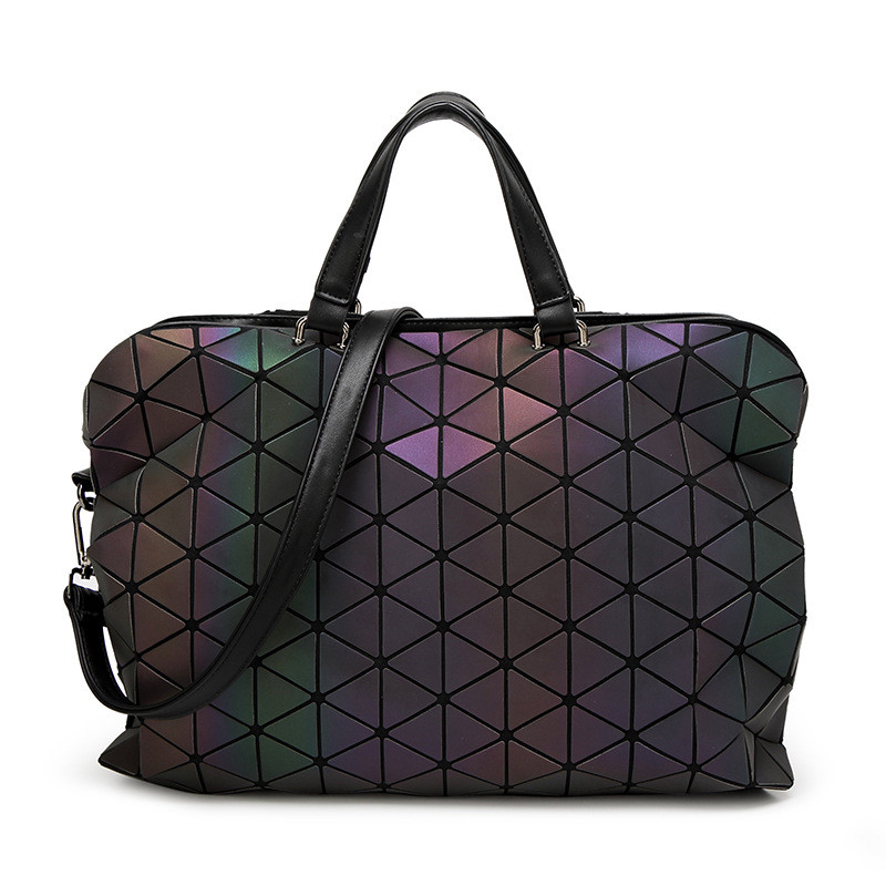 Luminous Briefcases Tote Geometry Quilted Shoulder Bags Folding Handbags VS Shot Light It Will Reflect Fluorescence