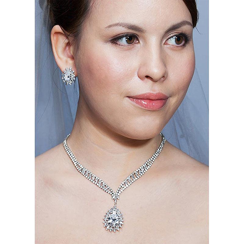 Collier de mariage de luxe boucles d'oreilles ensemble de bijoux Pageant fête CZ CS1232