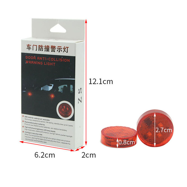 2X Universal Car LED Opening Door Safety Warning Anti-collision Lights Flash Light Red Kit Wireless Alarm Lamp Signal Light