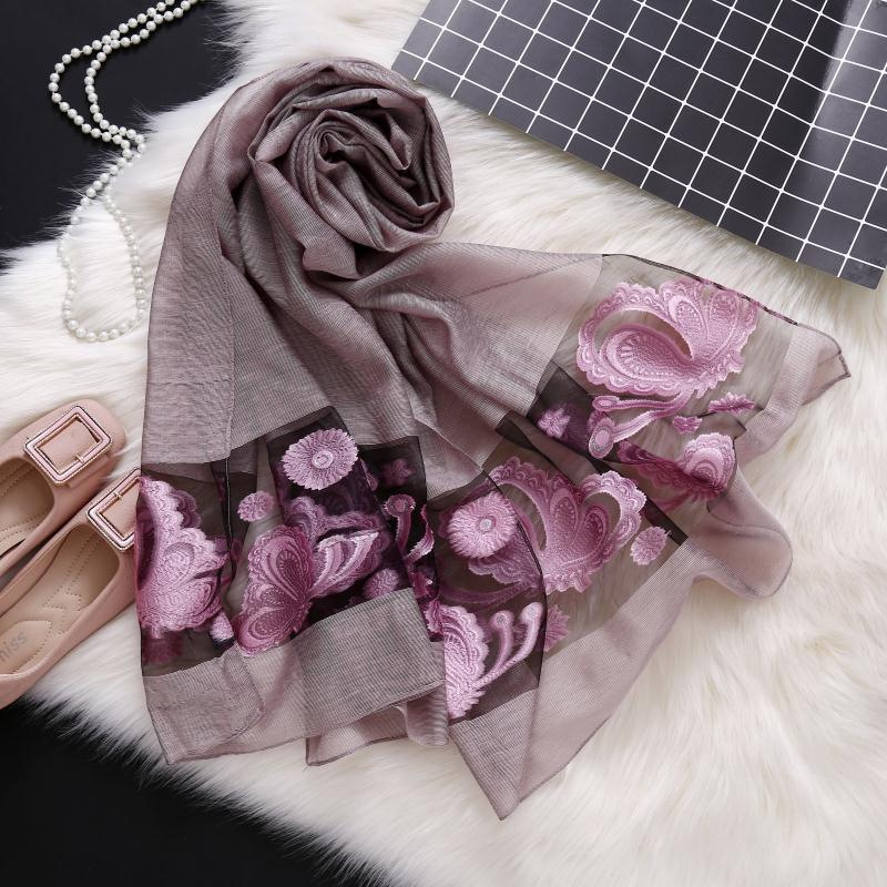 2019 Spring Floral Embroidery Scarf Women Head Wraps Hijab Foulard Shawl Elegant Ladies Bandana Lace Long Organza Silk Scarves