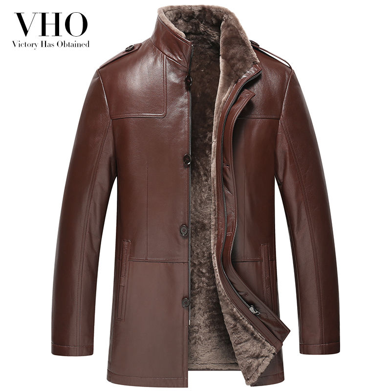 VHO winter red brown genuine leather jacket outerwear fur one men's medium long wool sheepskin leather coats lamb fur shearling