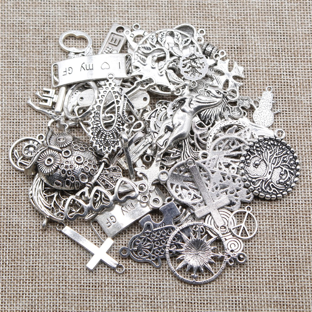 Steampunk Vintage Antique Silver Charms//Pendant Cross Bird Wing Flower Key Mix