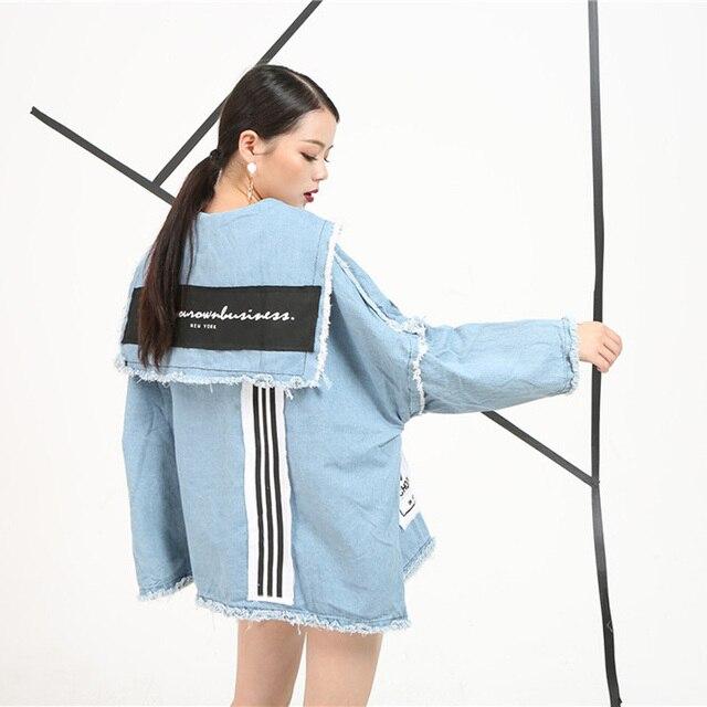 [Soonyour] 2017 новая коллекция весна джинсы длинный рукав куртки хеджирования женщина короткие письма печатаются женщины мода все-матч
