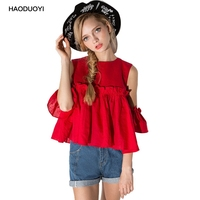 Haoduoyi Nice Pleated Ruffle Blouses Off Shoulder Puff Sleeve Short Design Women Shirts 2017 Summer Tops of Women Blouse White
