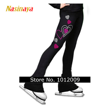 Nasinaya Figure Skating pants long trousers for Girl Women Training Competition Patinaje Ice Skating with short Fleece heart