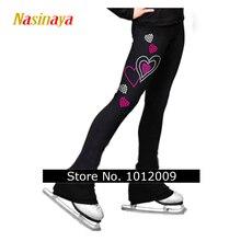 Nasinaya artistik patinaj pantolon uzun pantolon kız kadınlar için eğitim yarışması Patinaje buz pateni kısa polar kalp