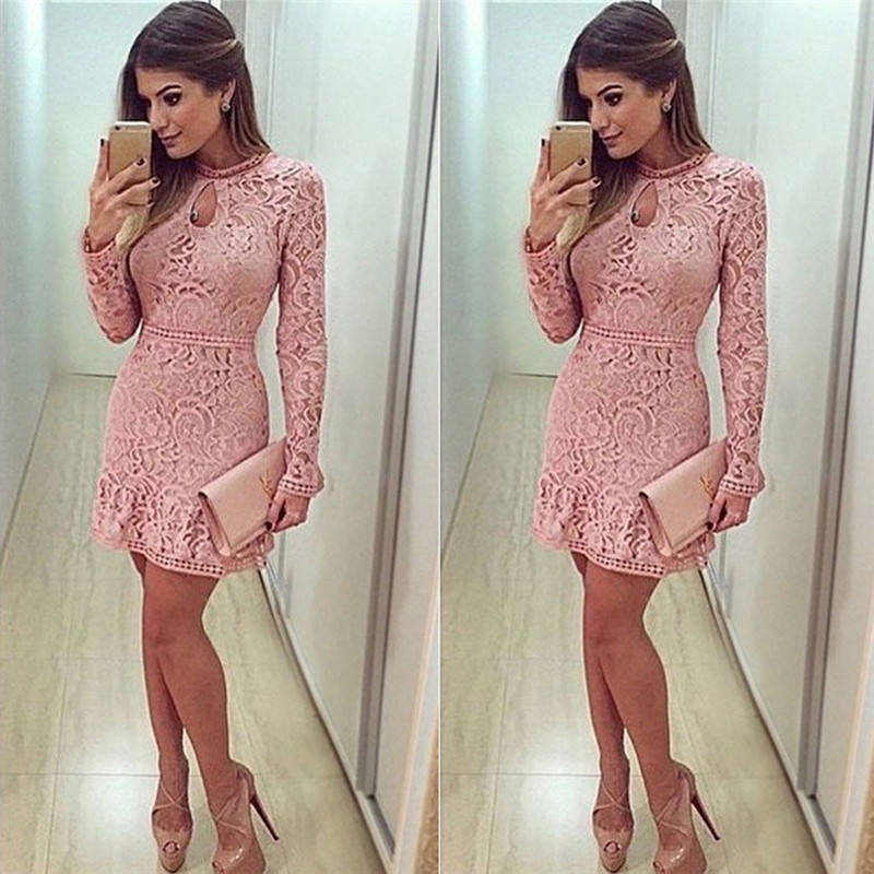 Long Sleeve Lace Dress New Spring Summer Women's Sexy Party Dresses Night Club Dress
