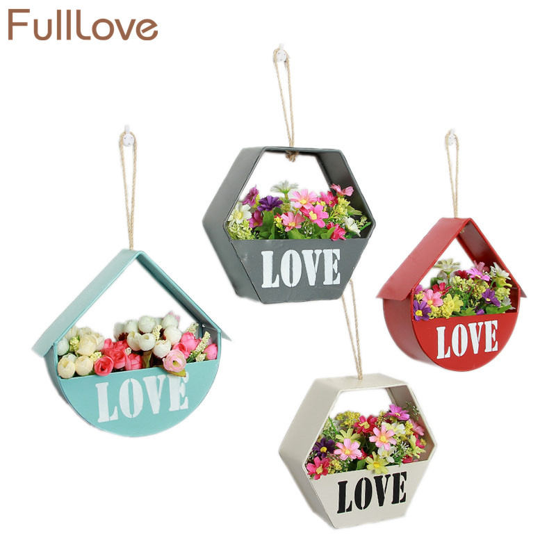 FullLove 21*19.5cm Wall Hanging Storage Box Metal Iron Letter Print Flower Pot Succulents Planter Container Vase for Garden ...