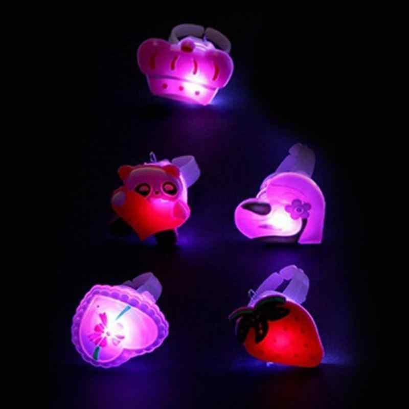 5 unids/lote, anillo de caricaturas parpadeante para niños, novedad, anillo de gel elástico suave como anillo de dedo, anillo de fiesta, suministros de juguetes luminosos