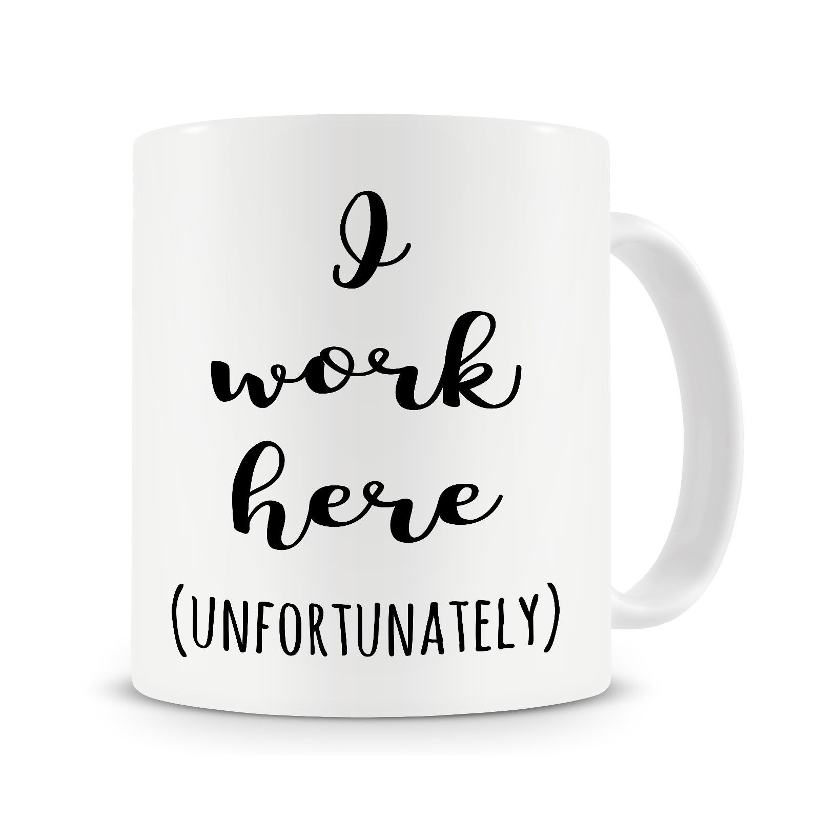 Funny Work Mugs Us 4 98 I Work Here Mug Funny Coffee Mugs Office Gifts Work Mugs Boss Mug Cup With Stirring Spoon Gift For Boss In Mugs From Home Garden On