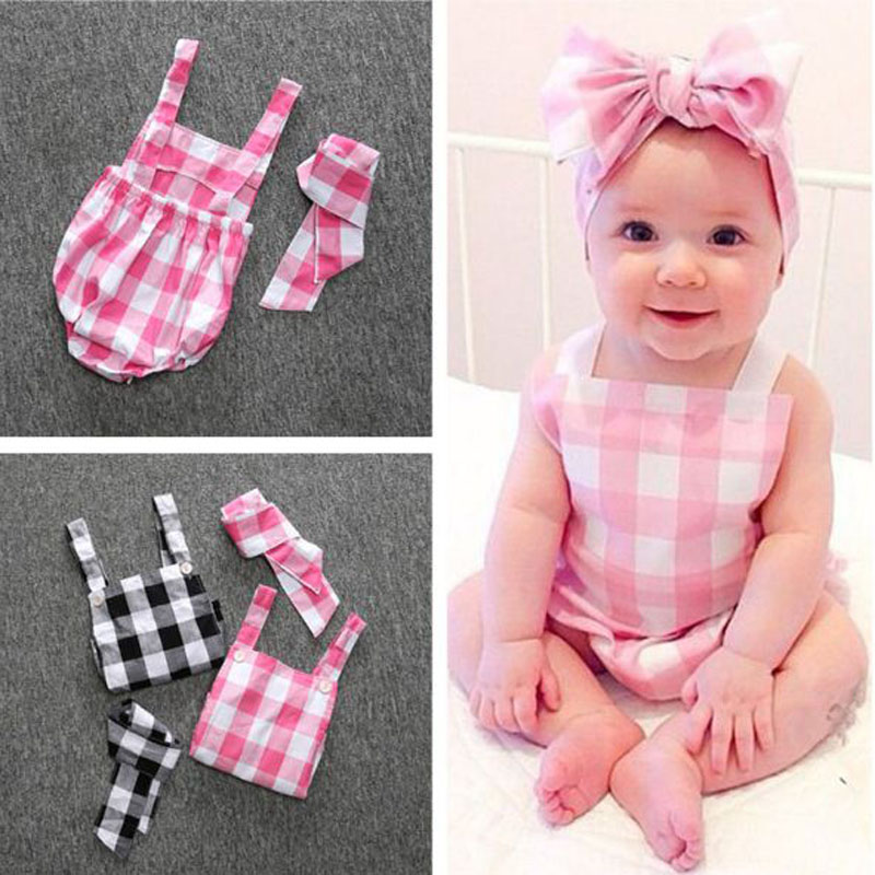 2017 summer newborn infant cute baby girl sleeveless one-piece plaid sunsuit outfits with headband cotton overall clothes