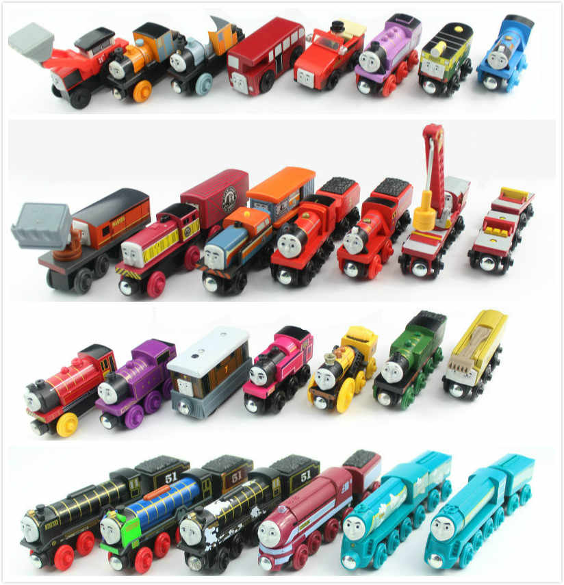 Wooden Train Locomotive Car Toys fit for Brio Wooden Railway Track Toy Train Railway the Tank Engine Characters for Children