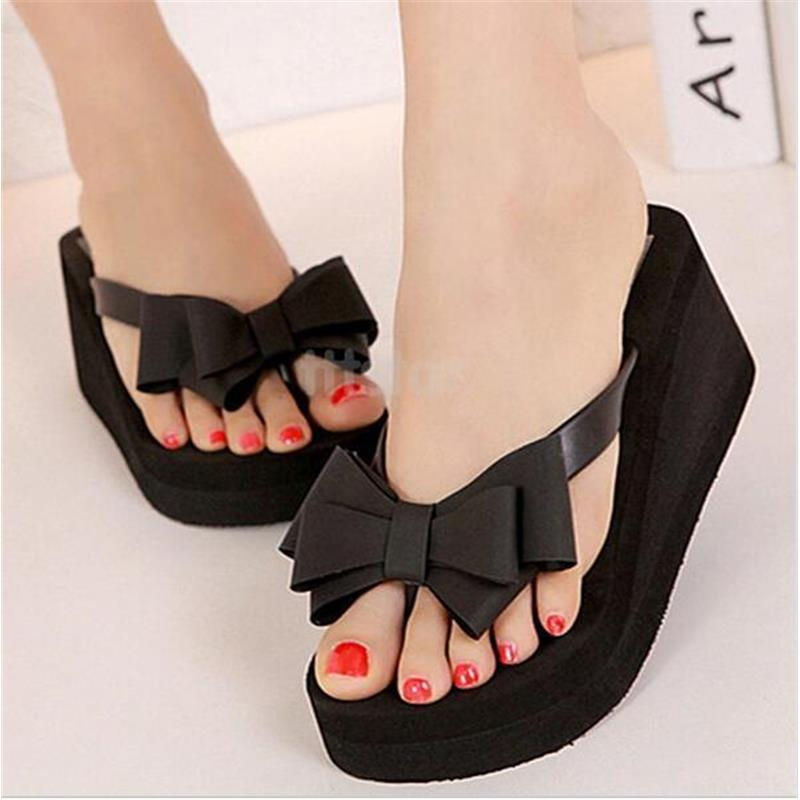 2016 Hot Flip Flops Women Summer Sandal Platform Thong Wedge Beach Sandals  Bowknot Shoes Black 36 39 Top Flip Flops New SV007279-in Women's Sandals  from ...