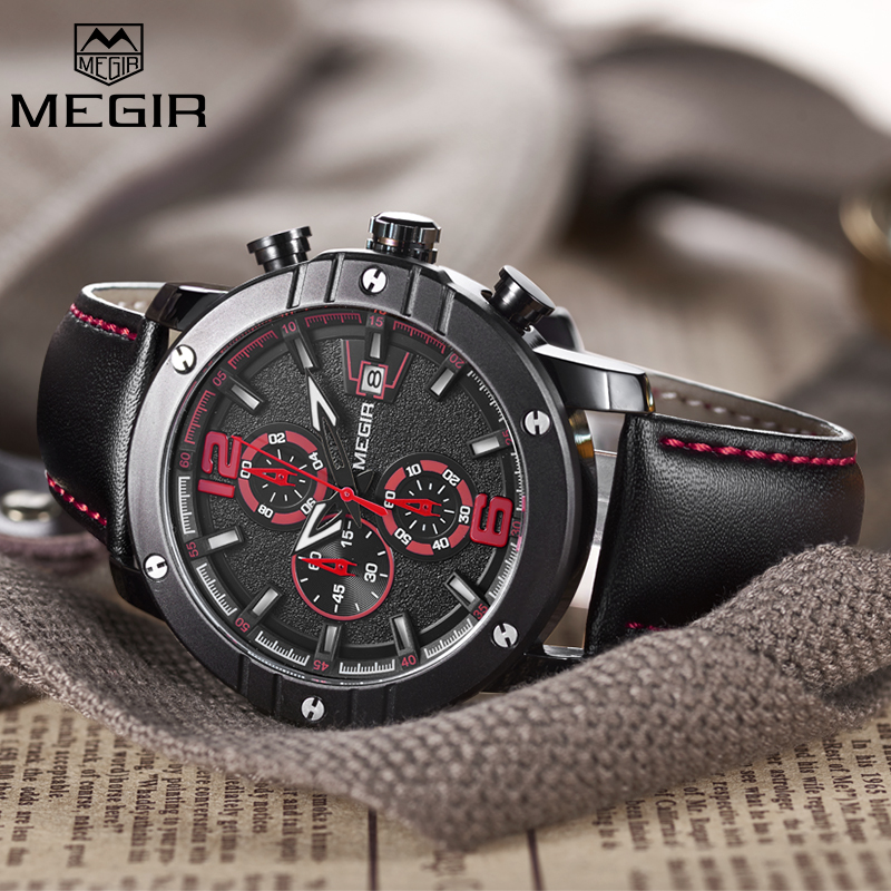 Megir Functoinal Mens Watches Top Brand Luxury Clock Men Military Sport Wristwatch Leather Quartz Watch Relojes Hombre 2017 New men watch relogio masculino top brand luxury leather military watches clock men quartz watches relojes hombre wristwatch lsb1437