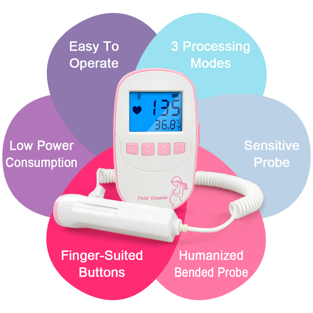 ELERA Fetal Doppler Baby Heartbeat fetal Detector Portable Ultrasound Heart Rate fetal Monitor Doppler foetal(China)