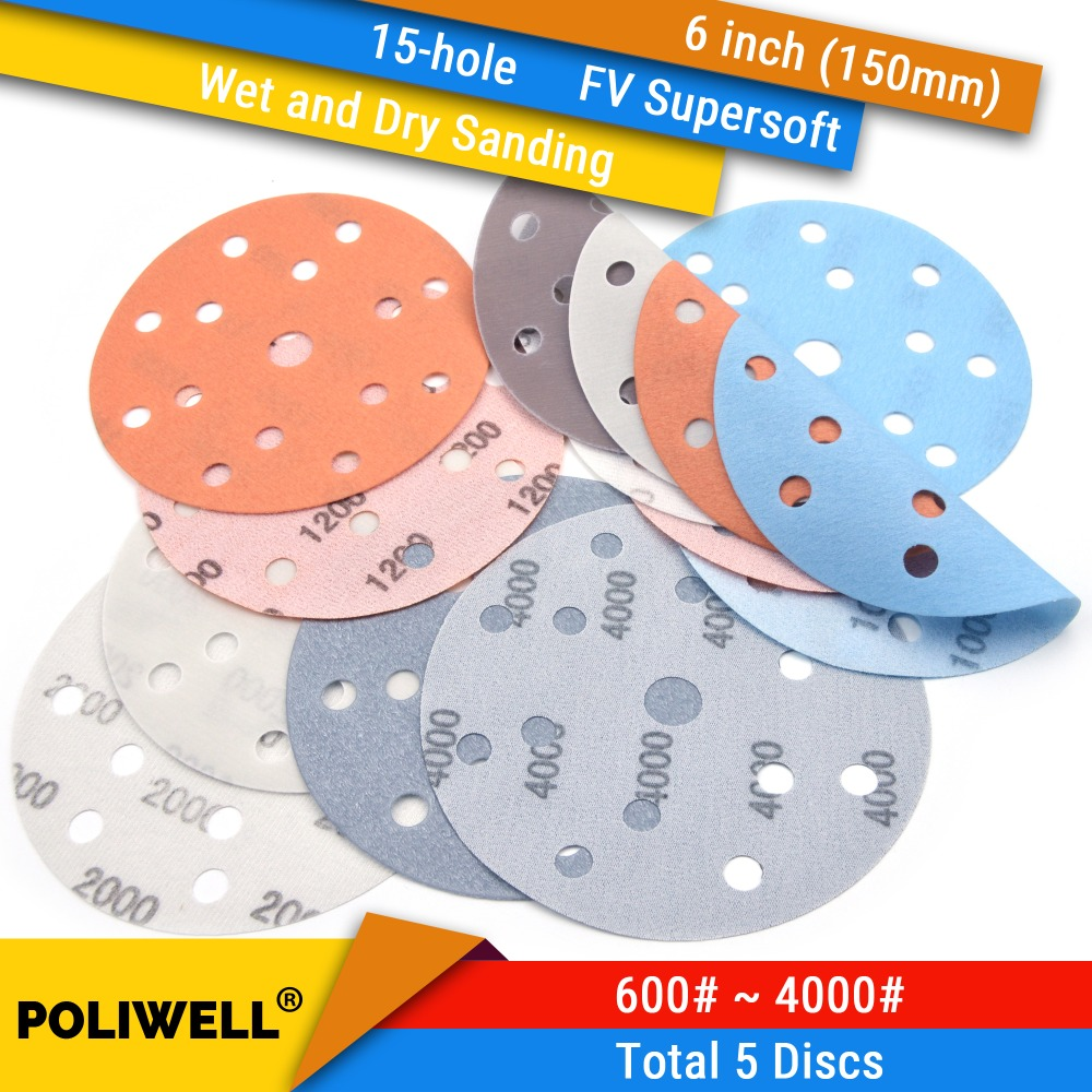 5PCS 6 Inch(150mm) 15-Hole FV Superfine Wet/Dry Hook & Loop Auto Body Film Sanding Discs Paint Abrasive Sandpaper, 600#-4000#