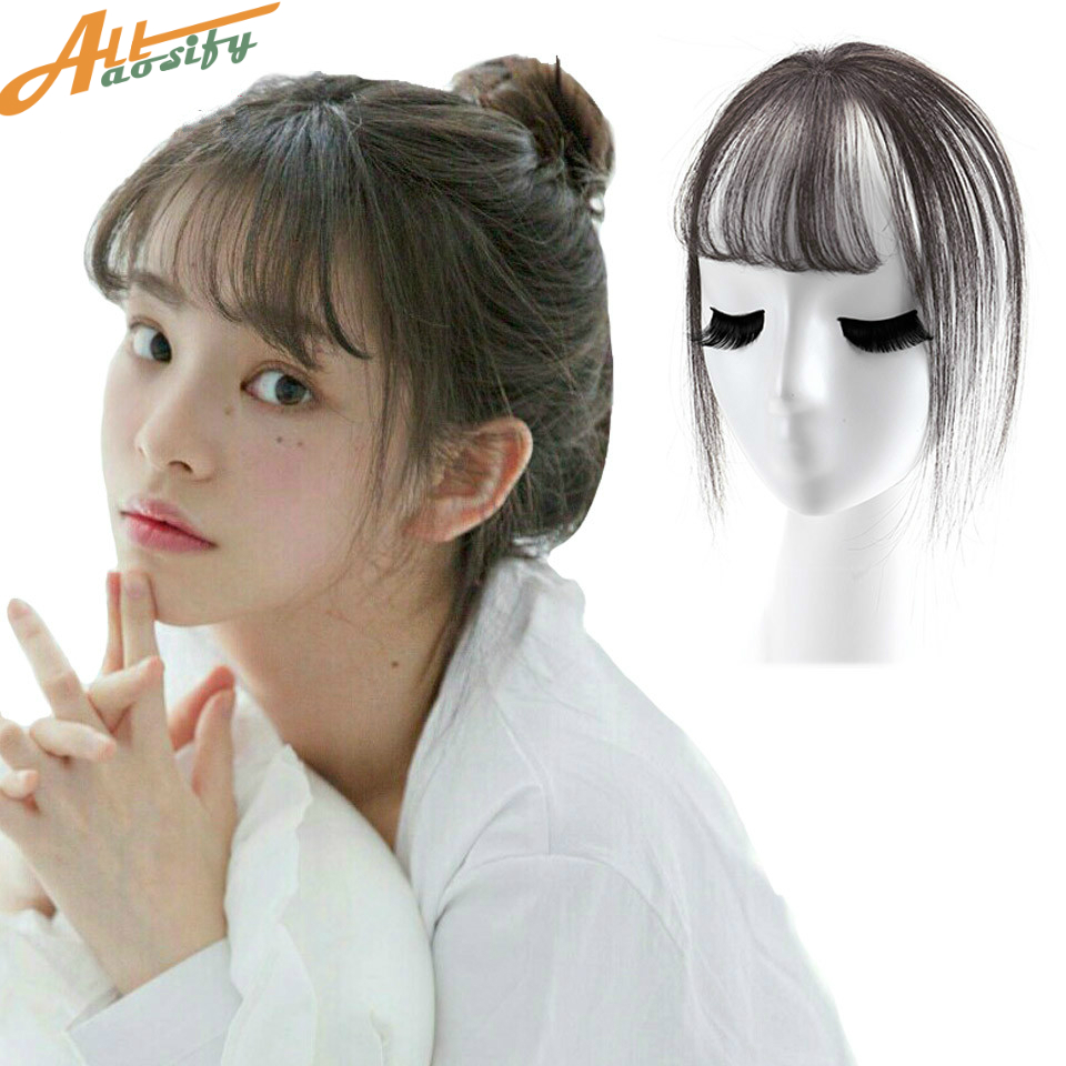Allaosify bangs Female Short Fake Hair Bangs Women Hair Pieces Invisible Seamless Sea Head Replacement Hair Wig ...