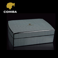COHIBA Luxury Black Carbon Fiber Cedar Wood Cuban Cigar Humidor MINI Storage Box with Hygrometer Humidifier