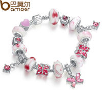 BAMOER 925 Silver Snake Chain Bracelet For Women With Butterfly Pendant Pink Murano Glass Beads Elegant