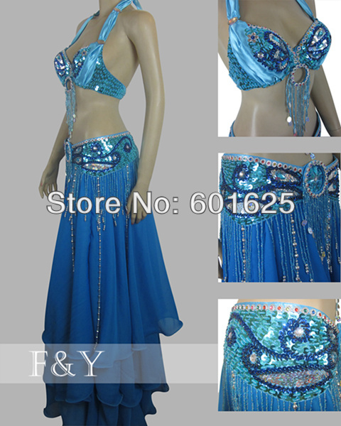 wholesale new belly dance costume set BRA belt 2 piece set accept size B C D