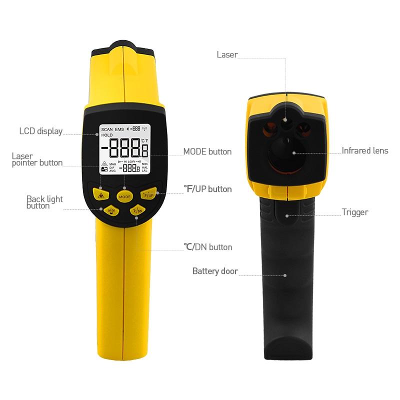 Image 3 - HoldPeak HP 1300 цифровой лазерный инфракрасный термометр 50C ~  1300 ℃ температурный пистолет Termometro Pistola тестерholdpeak  hp-1300infrared thermometerdigital infrared thermometer -