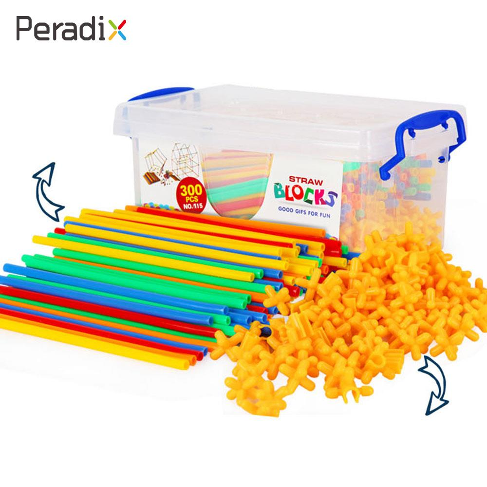 100 Pcs/set Straw Building Straw Insert Puzzle Straw Building Creative Plastic Colorful Puzzle Game 4D Sucker Building
