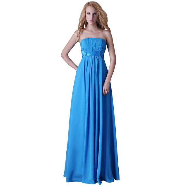 68f2a744ba860 Blue Strapless Long Evening Dress for Pregnant Women Cheap Formal Gowns  Soft Chiffon Pleated Special Occasion Dresses 3458