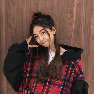 Image 5 - Hoodies Thicker Oversize Women Hooded Patchwork Chic Plaid Batwing Sleeve Korean Style Trendy Womens Casual Sweatshirts Students