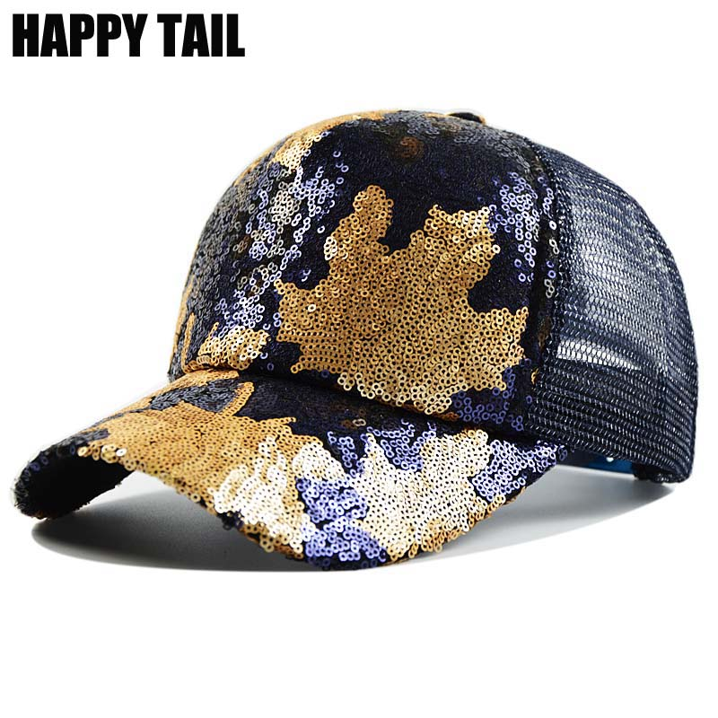 womens baseball caps with bling hats happy tail women sequins font cap maple